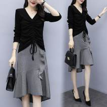 Women's large Spring 2021 Black top + skirt, green top + skirt, white top + skirt M [100 Jin], l [100-115 Jin], XL [115-130 Jin], 2XL [130-145 Jin], 3XL [145-160 Jin], 4XL [160-180 Jin], 5XL [180-200 Jin] Dress Two piece set commute moderate Socket Long sleeves Korean version other routine polyester