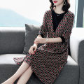 Dress Spring 2021 Picture color L,XL,2XL,3XL,4XL Mid length dress singleton  three quarter sleeve commute Crew neck middle-waisted lattice zipper Big swing routine Others Type A Button, pocket, ear, zipper, printing, stitching, lace up, ruffle, bandage