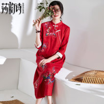 Dress Spring 2020 gules M L longuette singleton  three quarter sleeve commute stand collar Loose waist Decor Socket A-line skirt routine 35-39 years old Shakespeare's verse Embroidered pocket button 1H1252 More than 95% hemp Ramie 100% Pure e-commerce (online only)