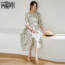 Dress Summer 2021 Off white S M L Mid length dress singleton  elbow sleeve commute Crew neck Elastic waist Decor Socket Big swing routine 35-39 years old Shakespeare's verse literature Lace up print More than 95% hemp Ramie 100% Pure e-commerce (online only)