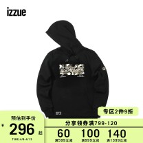 Sweater Youth fashion izzue Black Red S M L XL other Socket Hood easy routine IZXSWR3183W8B Cotton 76.7% polyester 23.3% Winter of 2018 Same model in shopping mall (sold online and offline)