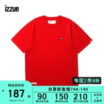 T-shirt Youth fashion Black Red White routine S M L XL izzue Short sleeve Crew neck easy daily Cotton 100% Spring of 2019 Same model in shopping mall (sold online and offline)