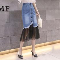 skirt Summer 2021 S,M,L,XL,2XL Dark blue, light blue Mid length dress commute High waist skirt Denim Button, mesh, stitching Korean version
