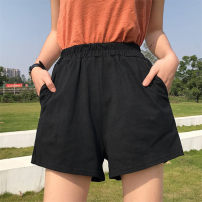 Casual pants black XXL XXXL S M L XL Summer 2021 shorts Wide leg pants High waist commute Thin money 18-24 years old 96% and above 631Y Tidal shield cotton Korean version pocket cotton Cotton 96% polyurethane elastic fiber (spandex) 4% Pure e-commerce (online only)