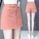Women's large Summer 2021 White Blue Black Pink S M L XL XXL skirt commute thin Solid color Retro cotton printing and dyeing GYKM-2030 Gu Yue 25-29 years old pocket Short skirt Cotton 100% Pure e-commerce (online only) shorts