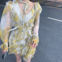 Dress Spring 2021 Dress S M L Short skirt singleton  Long sleeves V-neck Decor Big swing Lotus leaf sleeve 18-24 years old Han Aizi R21B0081 More than 95% other Other 100% Pure e-commerce (online only)