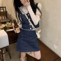skirt Summer 2021 S. M, l, average size Sling 9070, skirt 9036, detachable base coat 11053 Short skirt Versatile High waist stripe Type A 18-24 years old 9070#9036