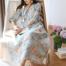 Dress Summer 2021 Big blue flower Average size Mid length dress singleton  three quarter sleeve commute V-neck Loose waist Decor Socket A-line skirt routine Others Type A Sanskrit with Hui tune literature Pocket, tie, print HFMM ramie blue flower 01819 More than 95% hemp