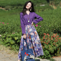 Dress Spring 2021 Deep purple S,M,L Mid length dress singleton  Long sleeves commute V-neck Loose waist Decor Socket A-line skirt routine Others Type A Sanskrit with Hui tune literature Pocket, lace up, stitching, print Hjq20827 linen maple leaf dress More than 95% hemp