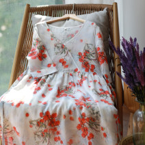 Dress Summer 2020 Picture color S,M,L Mid length dress singleton  elbow sleeve commute V-neck Loose waist Broken flowers Socket A-line skirt routine Others Type A Sanskrit with Hui tune literature Pocket, tie, print Szssm persimmon printed ramie skirt More than 95% hemp