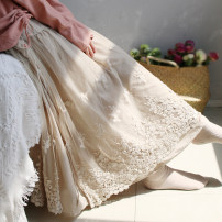skirt Spring 2021 Average size Khaki, white, dark coffee Mid length dress fresh Natural waist Irregular Decor Type A HJ embroidered lace double skirt 31% (inclusive) - 50% (inclusive) Lace Sanskrit with Hui tune cotton Bowknot, hollow out, embroidery