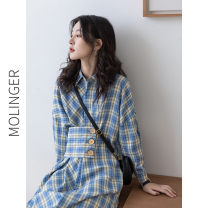 Dress Autumn 2020 blue L,M,S Mid length dress singleton  Long sleeves commute Polo collar High waist lattice Single breasted A-line skirt routine Others Type H Korean version