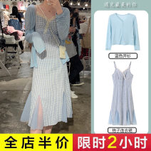 Dress Summer 2021 Blue cardigan lace Plaid Dress Short Sleeve Plaid Dress blue cardigan + Lace Plaid Dress S M L XL XXL 3XL 4XL longuette singleton  Long sleeves commute V-neck High waist Solid color Socket A-line skirt routine camisole 18-24 years old Type A Exemplar product Button 888219# other