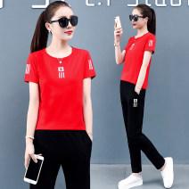 Casual suit Summer 2020 Red white black blue M [recommended 85 ~ 100 kg] l [recommended 100 ~ 115 kg] XL [recommended 115 ~ 130 kg] XXL [recommended 130 ~ 145 kg] 3XL [recommended 145 ~ 160 kg] 4XL [recommended 160 ~ 180 kg] GCH8905 Dazao 91% (inclusive) - 95% (inclusive) cotton