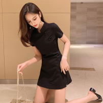 Dress Summer of 2019 Black collection and shopping cart for small gifts S M L XL 2XL 3XL Short skirt Two piece set Short sleeve commute stand collar High waist Solid color zipper A-line skirt routine 18-24 years old Type A Jian Liting Korean version Stitching zipper S025 nylon