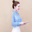Lace / Chiffon Spring 2020 Blue, apricot, yellow, pink S,M,L,XL,2XL Long sleeves commute Socket singleton  easy Regular stand collar Solid color puff sleeve 30-34 years old 2020HMCZ0085 Pleating, stitching, beading, lace Korean version
