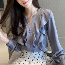 shirt Blue, brick red S,M,L,XL,2XL Autumn of 2019 other 81% (inclusive) - 90% (inclusive) Long sleeves commute Regular V-neck Socket shirt sleeve Solid color 25-29 years old Straight cylinder Other / other Korean version Ruffles, waves, buttons Chiffon