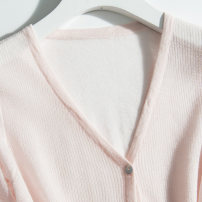 Wool knitwear Summer 2020 S M L XL XXL three quarter sleeve singleton  Cardigan Viscose 81% (inclusive) - 90% (inclusive) have cash less than that is registered in the accounts Thin money commute easy V-neck routine Solid color Single breasted Button Viscose (viscose) 89% polyamide (nylon) 11%