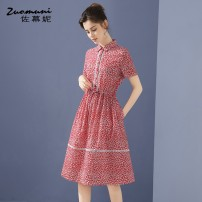 Dress Summer 2021 gules S M L XL XXL Mid length dress singleton  Short sleeve commute Polo collar Loose waist Decor Single breasted routine 30-34 years old Type H Muzoni Ol style Three dimensional decorative button with pocket panel Z21XL12785 More than 95% cotton Cotton 100%