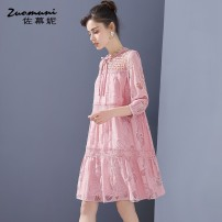 Dress Spring 2021 Pink S M L XL XXL Middle-skirt singleton  three quarter sleeve commute Crew neck Loose waist Solid color Socket routine 35-39 years old Type H Muzoni Ol style Bowknot pleated pleated hook flower hollow lace stitching strap button lace Z21CL12659 30% and below nylon