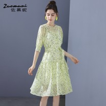 Dress Winter 2020 green S M L XL XXL Middle-skirt Two piece set three quarter sleeve commute Crew neck Loose waist Decor zipper other routine 30-34 years old Type H Muzoni Ol style Cut out lace up button print Z21CL12706 31% (inclusive) - 50% (inclusive) cotton