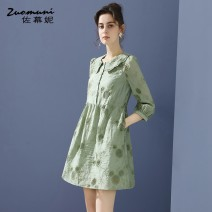 Dress Spring 2021 green S M L XL XXL XXXL Short skirt singleton  Nine point sleeve commute Doll Collar Loose waist Solid color Single breasted routine 30-34 years old Type H Muzoni Ol style Three dimensional decorative button with pocket panel Z21CL12685 30% and below polyester fiber