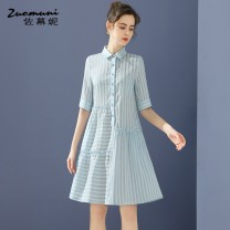 Dress Spring 2021 blue S M L XL XXL Middle-skirt Two piece set elbow sleeve commute Polo collar Loose waist stripe Single breasted 30-34 years old Type H Muzoni Ol style Pocket panel button 31% (inclusive) - 50% (inclusive) cotton