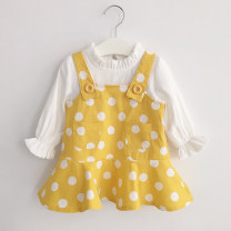 Dress female Other / other 80cm,90cm,100cm,110cm,120cm,130cm,70cm Cotton 90% other 10% spring and autumn Korean version Long sleeves Dot cotton Pleats 12 months, 6 months, 9 months, 18 months, 2 years, 3 years, 4 years Chinese Mainland