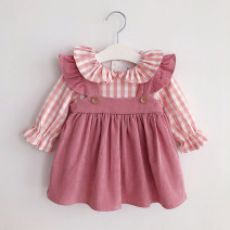 Dress In stock, booking female Other / other 73cm,80cm,90cm,100cm,110cm,120cm Cotton 90% other 10% spring and autumn Korean version Long sleeves lattice cotton Pleats 12 months, 6 months, 9 months, 18 months, 2 years, 3 years, 4 years Chinese Mainland