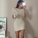 Dress Summer 2021 Milky white, black, grey Average size Short skirt singleton  Short sleeve Sweet Crew neck High waist Solid color Socket One pace skirt routine 25-29 years old Type X Stitching, folding QY806 More than 95% acrylic fibres