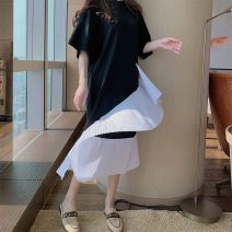 Dress Summer 2020 black M L XL XXL Mid length dress singleton  Short sleeve commute Crew neck middle-waisted other other Others 18-24 years old Type A Chiffon Korean version Asymmetry forty-seven million five hundred and seven thousand four hundred and eighty-six point two one five three seven