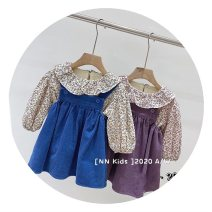 Dress Two piece floral skirt (blue), two piece floral skirt (purple) female Other / other 80cm,90cm,100cm,110cm,120cm,130cm Other 100% spring and autumn Korean version Long sleeves Solid color cotton A-line skirt 12 months, 18 months, 2 years old, 3 years old, 4 years old, 5 years old, 6 years old