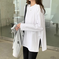 T-shirt White black S M L XL Spring 2021 Long sleeves Crew neck easy Regular routine commute cotton 86% (inclusive) -95% (inclusive) 25-29 years old Simplicity Yiyuan Cotton 95% polyurethane elastic fiber (spandex) 5% Pure e-commerce (online only)