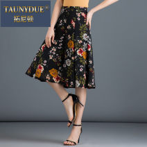 Casual pants Yellow flower on black background red flower on black background M L XL 2XL 3XL 4XL Spring 2021 trousers Wide leg pants Natural waist Taunydue / tonyton Other 100% Pure e-commerce (online only)