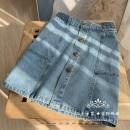 skirt Spring 2021 S,M,L Washed denim Short skirt Versatile High waist A-line skirt Solid color Type A More than 95% Denim RUNESSANSU cotton