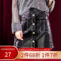 skirt Autumn 2020 S,M,L,XL black Short skirt Versatile Irregular Solid color 25-29 years old More than 95% other