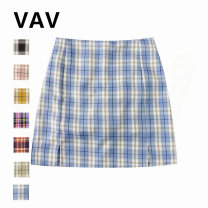 skirt Spring 2020 Xs, s, m, l, s (with safety pants), m (with safety pants), l (with safety pants) Blue, purple, green, pink, yellow, black and red Short skirt Versatile High waist skirt lattice Type A 31% (inclusive) - 50% (inclusive) other