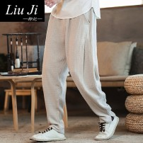 Casual pants Liuji Youth fashion Off White Navy Black M L XL 2XL 3XL routine trousers Other leisure easy No bullet XD167642 youth Chinese style middle-waisted Little feet Cotton 75.00% flax 25.00% Haren pants Three dimensional tailoring Summer of 2019