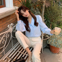 shirt White blue S M L XL Spring 2021 other 96% and above Long sleeves commute Medium length V-neck Socket bishop sleeve Solid color 18-24 years old Self cultivation Fashang dream Korean version Button Other 100% Pure e-commerce (online only)