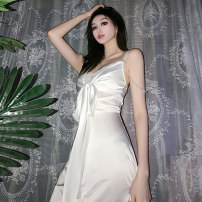 Dress Spring 2021 white S,M,L Short skirt singleton  Sleeveless commute V-neck High waist Solid color Socket A-line skirt routine camisole 18-24 years old Type A Three ratels / three honey badgers Stitching, bandage, lace K20D10477 91% (inclusive) - 95% (inclusive) polyester fiber