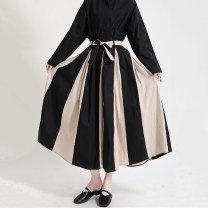 skirt Spring 2021 Average size black longuette street High waist A-line skirt stripe Type A 25-29 years old 51% (inclusive) - 70% (inclusive) other Other / other polyester fiber Three dimensional decoration, splicing 61G / m ^ 2 (including) - 80g / m ^ 2 (including) Europe and America