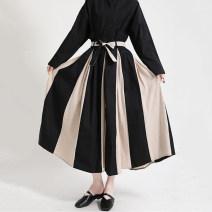 skirt Spring 2021 Average size black longuette street High waist A-line skirt stripe Type A 25-29 years old 51% (inclusive) - 70% (inclusive) other Other / other polyester fiber Three dimensional decoration, splicing 61G / m ^ 2 (including) - 80g / m ^ 2 (including) Europe and America