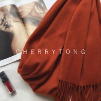 Scarf / silk scarf / Shawl wool Spring and autumn and winter female Shawl keep warm Europe and America rectangle Students, parents and children, young and middle aged Solid color tassels 70cm 200cm More than 96% other