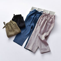 trousers neutral spring and autumn trousers leisure time Leather belt middle-waisted Cotton and hemp Open crotch Cotton 70% flax 30% Class B 2 years old, 3 years old, 4 years old, 5 years old, 6 years old