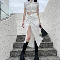 Dress Summer 2021 White, black S,M,L Miniskirt Two piece set Short sleeve stand collar High waist Irregular skirt routine 9972# 31% (inclusive) - 50% (inclusive) polyester fiber