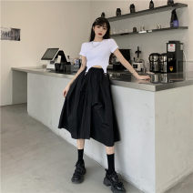 skirt Summer 2021 Average size White short sleeve, black short sleeve, white skirt, black skirt Mid length dress Versatile High waist A-line skirt Solid color Type A 1807# 81% (inclusive) - 90% (inclusive) cotton