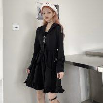 Dress Spring 2021 black S,M,L Short skirt singleton  Long sleeves Admiral Loose waist 18-24 years old