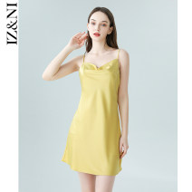 Nightdress IIZZINI Caragana dress with suspenders S (spot), m (spot), l (spot) Simplicity camisole Leisure home Short skirt summer youth Iced silk More than 95% silk