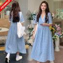 Dress VSETAMELLE Picture color M. L, XL, XXL, XXXL, increase XXXL Korean version Short sleeve Medium length summer V-neck nylon VS-96030