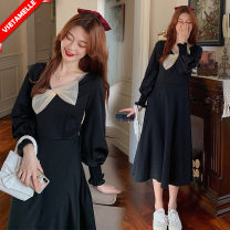 Dress VSETAMELLE M,L,XL,XXL Korean version Long sleeves have more cash than can be accounted for autumn V-neck Solid color nylon